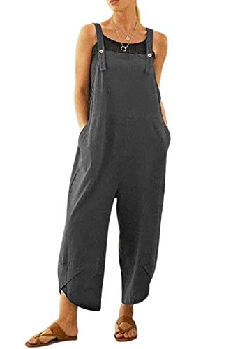 MAGIMODAC Women's Casual Cotton Linen Baggy Overalls Jumpsuit Rompers with Pockets Adjustable (Grey, 12-14)