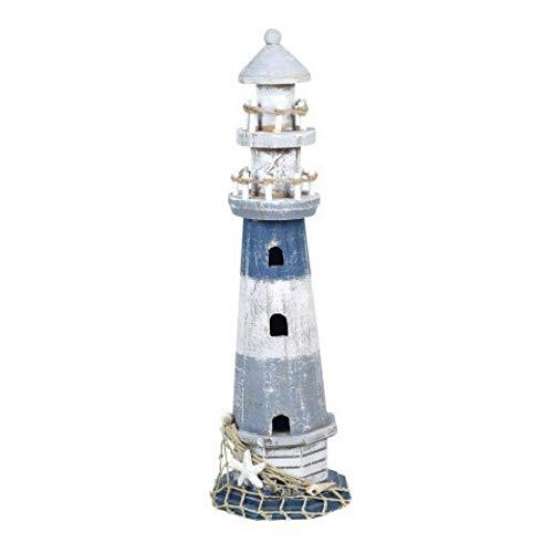 CAPRILO Figura Decorativa Marinera de Resina Faro Azul y Blanco. Adornos y Esculturas. Decoración Hogar. Regalos Originales. 40 x 12 x 12 cm.