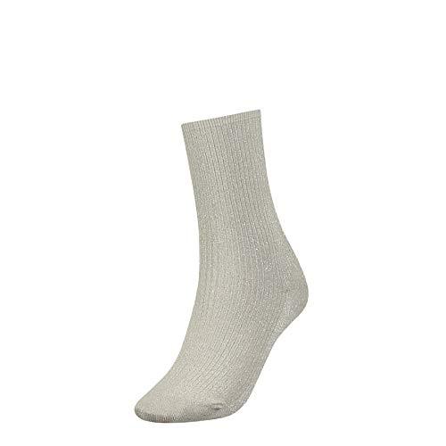 Tommy Hilfiger Damen TH Women GLIITER Socken, Silber (Silver 500), 39/42