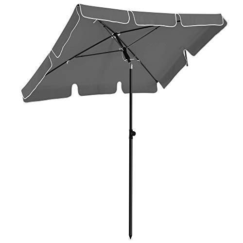 SONGMICS Sonnenschirm für Balkon, rechteckiger Gartenschirm, 180 x 125 cm, UV-Schutz bis UPF 50+, knickbar, Schirmtuch mit PA-Beschichtung, für Garten, Terrasse, ohne Ständer, grau GPU180G01