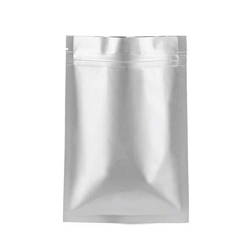 kangonline 100 Stück wiederverschließbare Aluminiumfolie Ziplock Beutel flach Ziplock Verschluss Lebensmittel Aufbewahrungsbeutel, 13*19cm