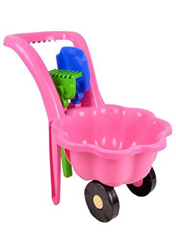 Gartengeräte für Kinder Schubkarre Garten Kinder Spielzeug Sandspielzeug Sandkasten + Schaufel + Rechen (Rosa)