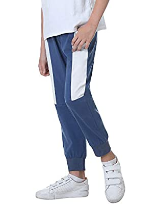 Sykooria Boys Jogger Pants Athletic Pants Cotton Drawstring Elastic Sweatpants with Pockets Navy White