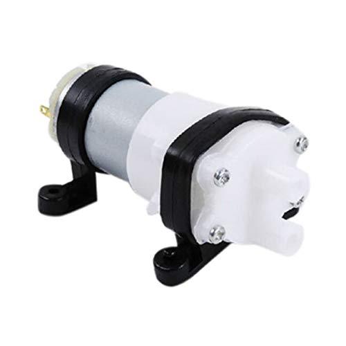 Mazudr DC6-12V Membranpumpe Multifunktions-Wasserpumpe 385 mit Halterung Aquarienpumpenmotor für Auto-Peeling-Getreideöl-Minipumpe (Farbe: schwarz & weiß)
