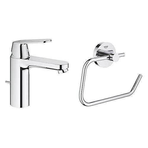 """Grohe Eurosmart Cosmopolitan - Grifo de lavabo 1/2"""", tamaño M, con vaciador automático (Ref. 23325000) + Grohe - Portarrollos de Baño, acabado cromado (Ref. 40689001)"""