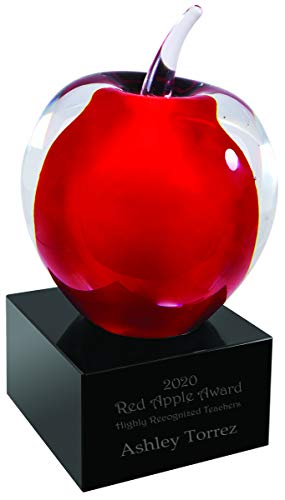 """Personalized 5 3/4"""" Red and Clear Glass Apple with Black Base Award with Text, Custom Engraved Glass Awards and Trophies"""