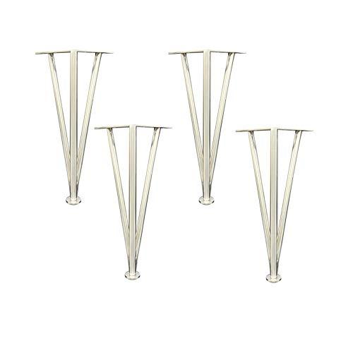 QQF 4 patas de metal para muebles, muebles de metal, patas de sofá, patas doradas, para todo tipo de muebles de bricolaje, con tornillos de fijación plateados, 40 cm