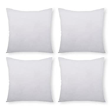 PHANTOSCOPE 4 Packs Throw Pillow Inserts Hypoallergenic Square Form Sham Stuffer 20  x 20