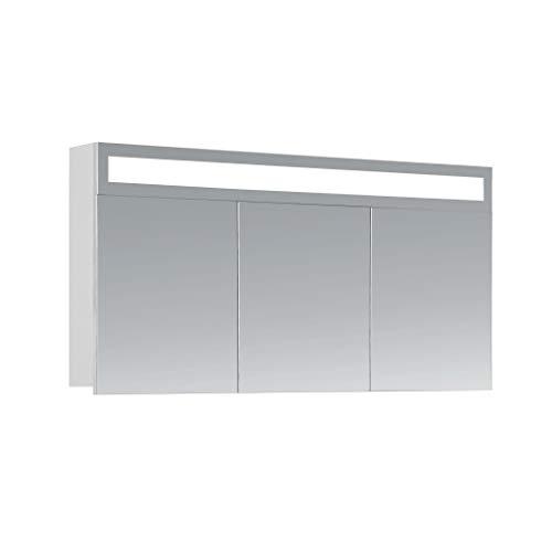 HAPA Design Spiegelschrank Miami weiß mit LED Beleuchtung in Lichtfarbe 4500K, VDE Steckdose, Softclose Funktion und verstellbaren Glas Ablagen. Komplett vormontiert. SGS geprüft. (120 x 60 x 14 cm)