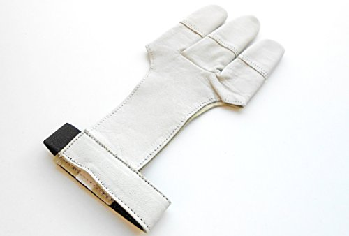 Deer Skin Traditional Archery Gloves Full Tip Shooting Gloves. (Medium)