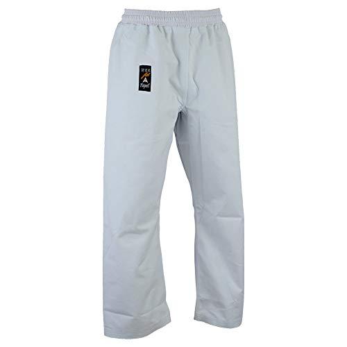 Playwell Karaté Lourd Toile Pantalon Blanc 396gr - Taille Élastique - 5/180cm
