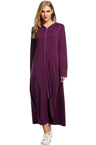 Emmala Signore badjas met lange mouwen vooraan pyjameria met ritssluiting Elegante unieke capuchon sweatshirt met capuchon Veste Maxi Robe Casa Moda pyjama Comodi