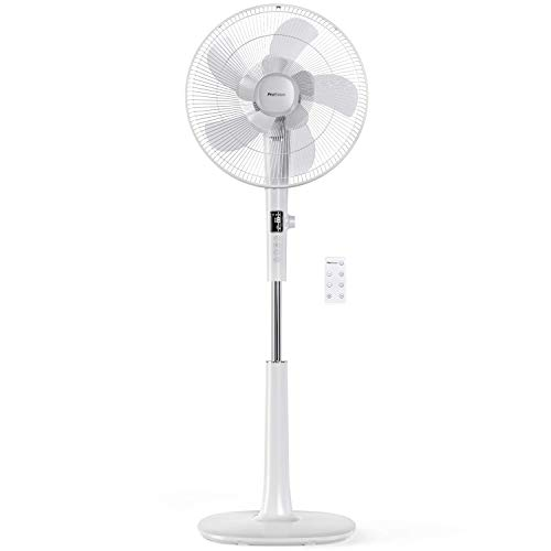 Pro Breeze? 16-Inch Pedestal Fan with Remote Control and LED Display   4 Operational Modes   80? Oscillation   Adjustable Height & Pivoting Fan Head   Perfect for Homes, Offices and Bedrooms