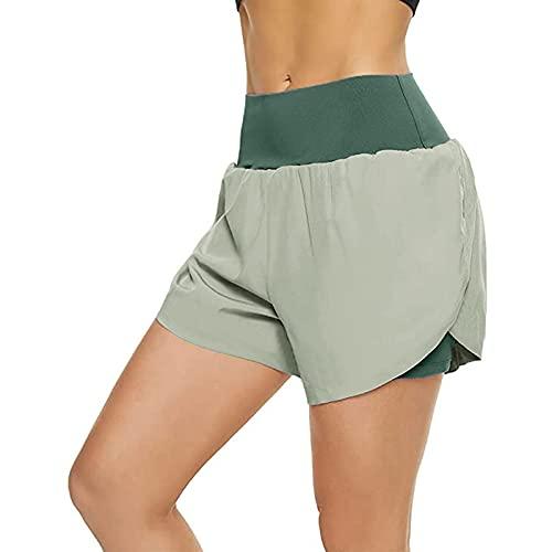 ZEEZI Pantalones de fitness de cintura alta casuales para mujeres pantalones deportivos sólidos laterales divididos pantalones cortos, verde, M