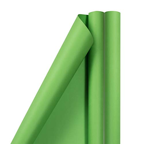 JAM PAPER Gift Wrap - Matte Wrapping Paper - 25 Sq Ft per Roll - Matte Lime Green - 2/Pack