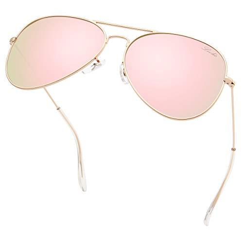 livho Classic Polarized Aviator Sunglasses UV Mirrored Lens Metal Retro Shades for Women Men (Pink Mirrored Lens/Gold Frame(Rose Gold), 62)