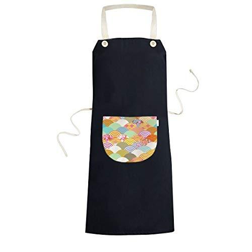 Geometry Squama Bloemen Patroon Japan Koken Keuken Zwarte Bib schorten Met Pocket voor Vrouwen Mannen Chef Geschenken