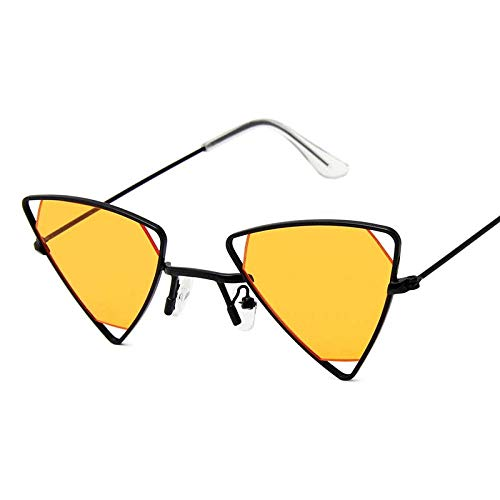 DLSM Retro aleación hueco triángulo gafas de sol hombres punk gafas caramelo colores gradiente vintage gótico gafas de sol para mujeres-negro naranja