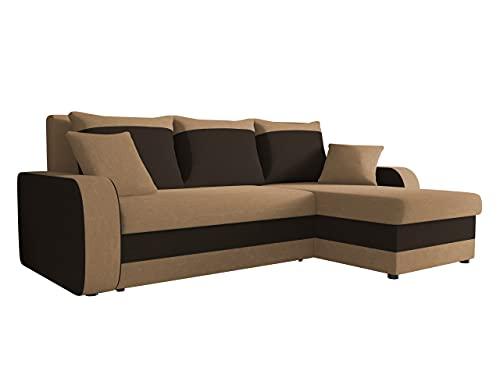 Ecksofa Kristofer, Design Eckcouch Couch! mit Schlaffunktion, Zwei Bettkasten, Farbauswahl, Wohnlandschaft! Bettfunktion! L-Form Sofa! Seite Universal! (Mikrofaza 0048 + Mikrofaza 0041.)