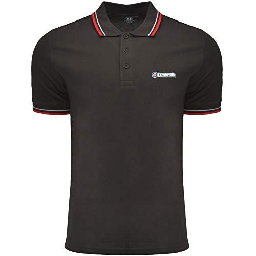 Lambretta Klassisches Poloshirt für Herren mit zwei Spitzen. Gr. L, Mulch/Weiß/Rot