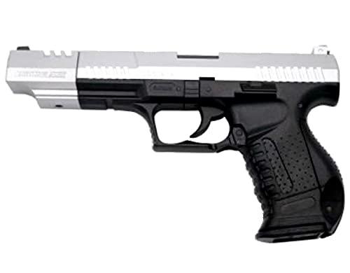 Pistola de Airsoft Replica de Walther. Sistema Muelle. Negro y Plata. Cañón Largo. Modelo P-99. Potencia 0,4 Julios