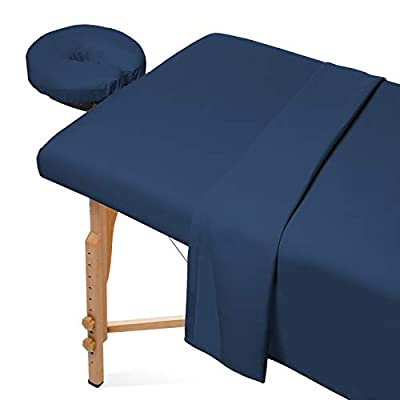 Saloniture 3-Piece Microfiber Massage Table Sheet Set - Premium Facial Bed Cover - Includes Flat and Fitted Sheets with Face Cradle Cover - Navy Blue