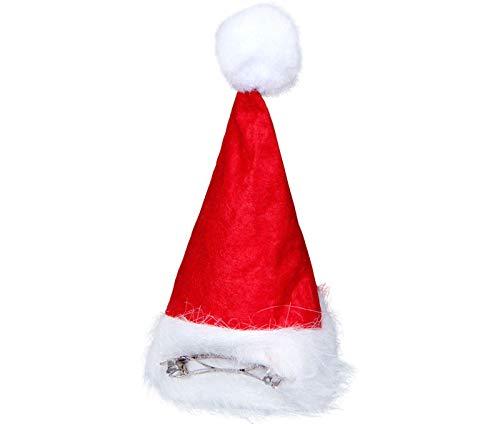 Alsino Mini Weihnachtsmütze Nikolausmütze mit Haarspange Haarclip rot mit Bommel 130