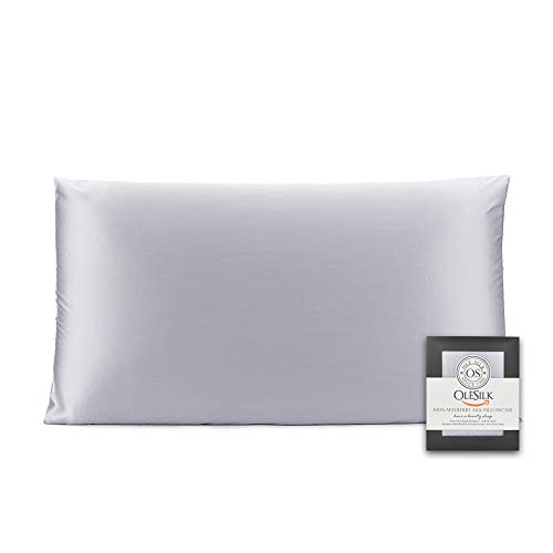 OLESILK 100% Mulbery Silk Pillowcase with Hidden Zipper for Hair And Skin, Both Sides 16mm Charmeuse Gift Box 1pc - Silvergrey, 40x80cm