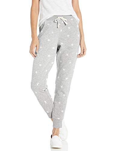 Amazon Essentials Women's Relaxed Fit French Terry Fleece Jogger Sweatpant, Light Grey Heather Star, Small