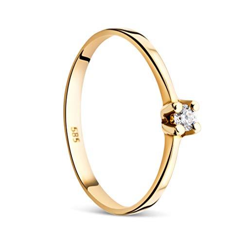 Orovi Damen Verlobungsring Gold Solitärring Diamantring 14 Karat (585) Brillianten 0.065carat GelbGold Ring mit Diamanten