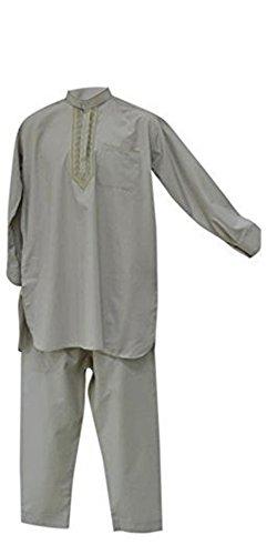 Desert Dress - Herren Afghan Pakistani Indisch Shalwar Kameez Anzug Kostüm Elegant Hosen Shirt - Grau, nicht angegeben