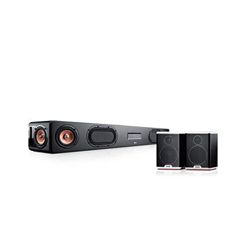 Teufel Cinebar Ultima Surround 4.0-Set Schwarz / Schwarz-Weiß Soundbar Bluetooth mit aptX HDMI Surround Kino - Sound Speaker