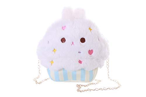 Kawaii-Story LB-243-1 Weiß Hase Bunny Rabbit Muffin Cupcake Kuchen Niedlich Gesicht Plüsch Tasche Lolita Pastel Goth Harajuku