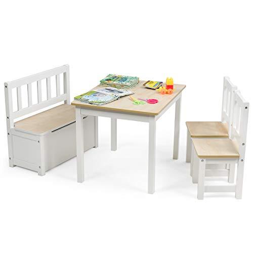 COSTWAY 4 TLG. Kindersitzgruppe Holz, Kindertisch Stühlen Sitzbank mit Stauraum, Sitzgruppe Kinder, Kindertischgruppe, Kindermöbel Kindersitzgarnitur (Natur)