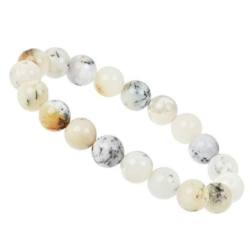 ELEDORO PowerBead - Pulsera elástica de perlas de piedras preciosas, 10 mm, dendriten ópalo