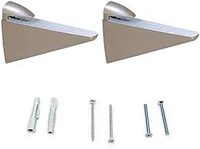 Emuca 4009224 paar plankdragers model Halcon voor planken in hout/glas/kristal met dikte 8-40 mm uitvoering nikkel mat