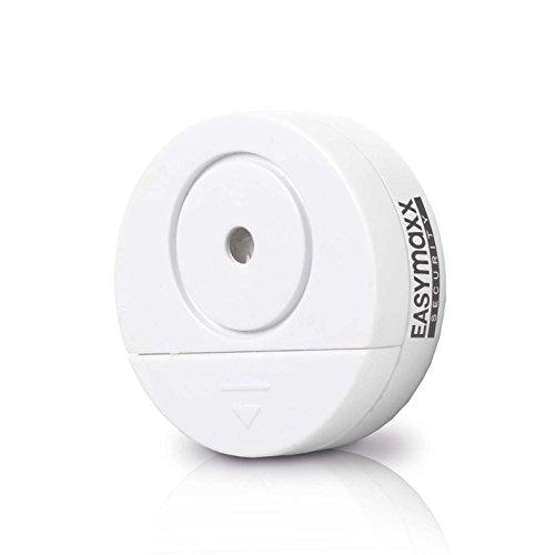 easymaxx 00031 Security Alarmanlage Glasbruch, mit Erschütterungssensor, 2er-Set, 95db, kabellos, Weiß