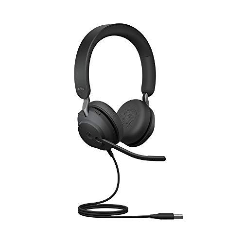 Jabra Evolve2 40 PC Headset – Noise Cancelling Microsoft Teams Zertifizierte Stereo Kopfhörer mit 3 Mikrofonen – USB-A Kabel – Schwarz