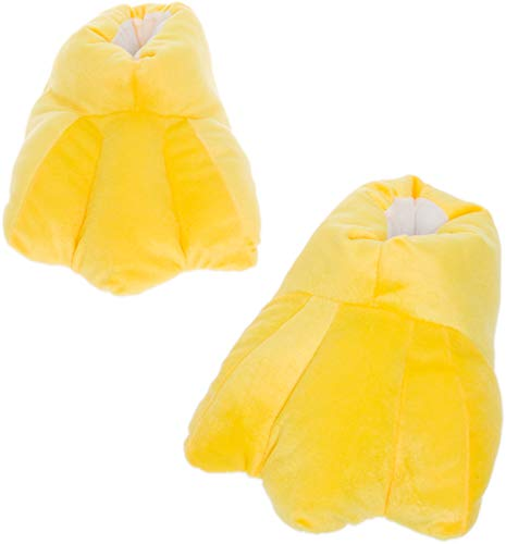 Silver Lilly Duck Feet Slippers - Plush Novelty Animal Costume House Shoes w/Comfort Foam (L) Yellow