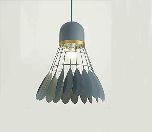 Coding Moderna lámpara colgante verde bádminton con pantalla de metal vintage, creativa, para comedor, pasillo, restaurante, salón (M, verde)