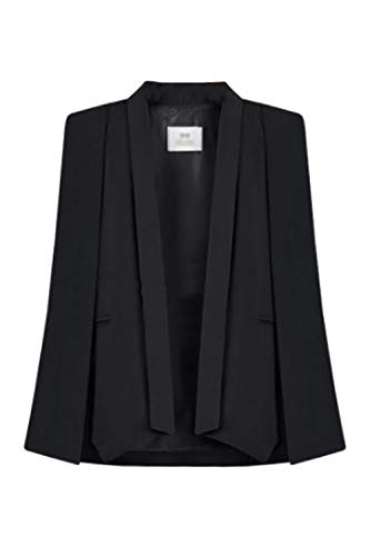 Zamtapary Blazer für Damen Offen Jacke Poncho Cape Elegant Schal Kragen Vintage Umhang Mantel das Schwarz L
