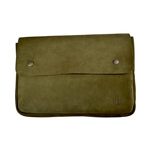 Hide & Drink, Vintage Leather Folder Document Holder, File Case, Document Portfolio & Binder Strapless Carry On Bag, Office & Work Essentials, Handmade (Peat Moss)