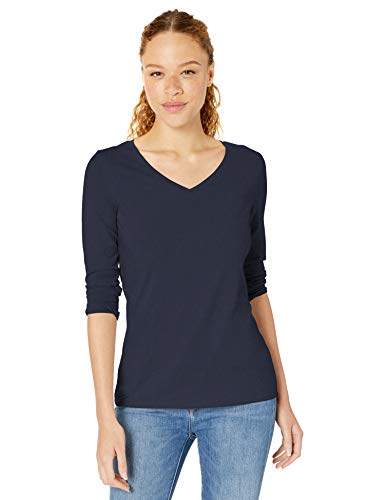 Amazon Essentials Women's Classic-Fit 3/4 Sleeve V-Neck T-Shirt, Navy, Small