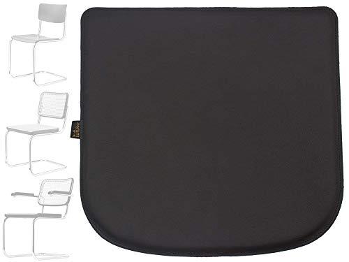 Luxflair Echt-Leder Sitzkissen für Stuhl Breuer Thonet 80-S32-S43-S64 Sitzauflage aus echtem Leder, Farbe: Schwarz