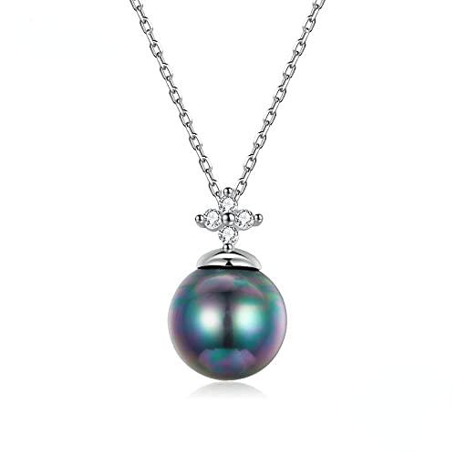 Collar De Plata De Ley 925 Elegante Con Dije De Perla Negra, Collar De Cadena De Circonita Perla De Concha Para Mujer, Joyería Fina