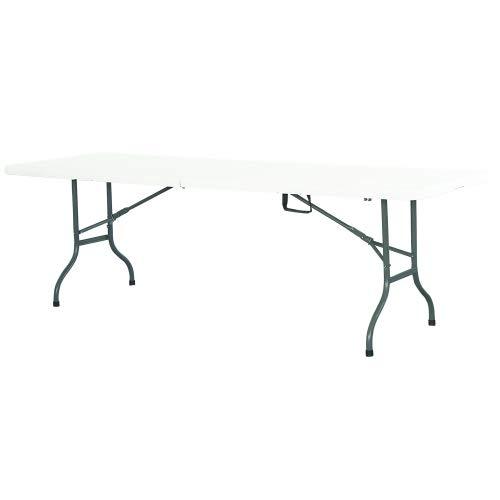 Table de réception 240cm Format Valise Pieds Plateau pliants polyéthylène et Acier épais Cap. 10/12 pers. - Multi Usage: Réception, Camping, Jardin, intérieur