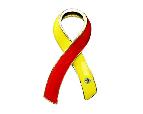 Red & Yellow Ribbon Awareness Lapel Pin w/Crystal - Large Ribbon Pin for Coronavirus Disease, HIV/HCV Co-Infection Awareness, and Hepatitis C Awareness (1 Pin - Retail)
