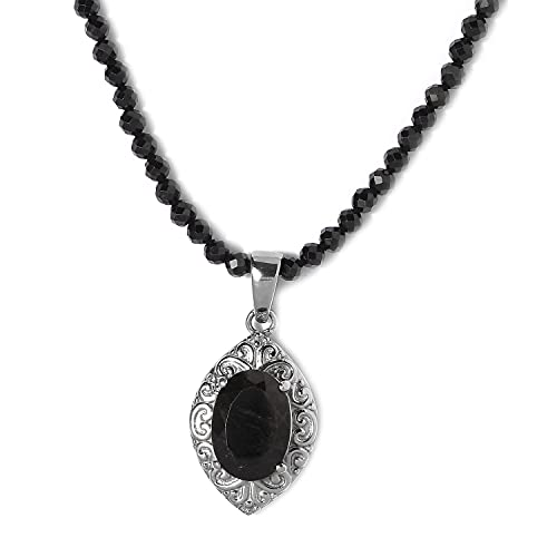 Shop LC Black Tourmaline Pendant with Quartsite Bead Choker Beaded Necklace Delicate Jewelry 20