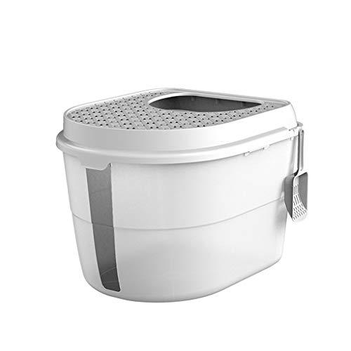 Love lamp Maisons de Toilette Boîte à litière for Chat Portable Boîte à litière Curver for Animaux de Compagnie Boîte à litière Semi-Automatique Litières pour Chats (Color : White)