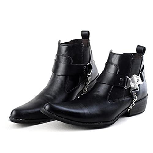 LOK Botas de Cuero de Punta Puntiaguda con Cadena, Botas de Motocicleta básicas de Uniforme para Hombres, Zapatos Negros de Tobillo Punk Rock para Hombres